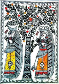 Two Veiled Brides, by Dulari Devi, in the Kachni style.