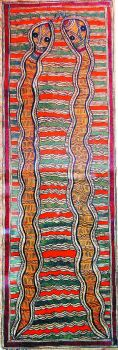 Two Snakes, by Krishnakant Jha, in the Bharni style.