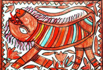 Hurar, a local animal, by Bhagvati Devi, in the Geru style.