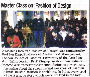 Masterclass by Prof. Ian King on Fashion of Design (DNA)